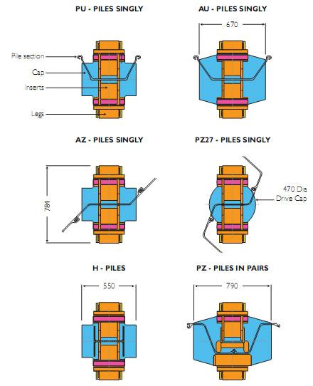 Наголовник молота BSP  и размеры вкладышей для различных шпунтовых свай и свай с 'H'<br /><br /><br />    сечением показаны ниже. Также доступны вкладыши для труб и квадратных свай до 406 мм. (Размеры в мм)