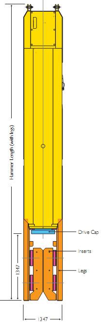 Стандартный Молоток SL30 для шпунтовых свай и несущих 'H<br /><br /><br />    сваи. Вкладыши могут быть изменены, чтобы погружать трубы и квадратные сваи. Молотки SL могут использоваться свободно подвешанными на кране или быть оснащенны креплениями для лидера.